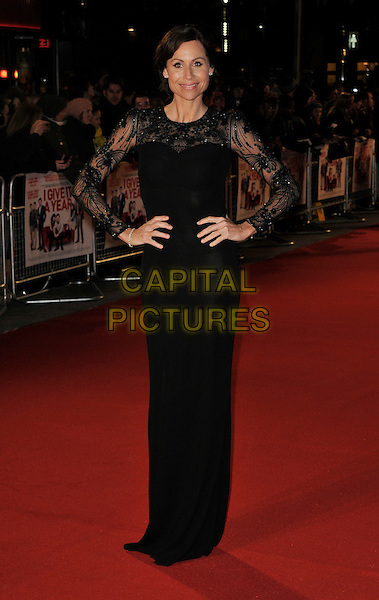 Minnie Driver .attends the UK Premiere of 'I Give It A Year', Vue West End cinema, London, England, UK, 24th January 2013..full length sheer hands on hips long sleeve maxi dress black lace beaded sheer knickers bra pants underwear see thru through .CAP/WIZ.© Wizard/Capital Pictures.