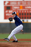 Adrian De Horta #24 of the AZL Padres pitches against the AZL Reds at the Cincinnati Reds Spring Training Complex on July 13, 2013 in Goodyear, Arizona. AZL Reds defeated the AZL Padres, 11-10. (Larry Goren/Four Seam Images)