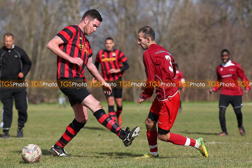 Chapel United (red/black stripes) vs FC Haggerston - Hackney & Leyton Sunday League Jack Morgan Cup Football at South Marsh, Hackney Marshes, London - 01/03/15 - MANDATORY CREDIT: Gavin Ellis/TGSPHOTO - Self billing applies where appropriate - 0845 094 6026 - contact@tgsphoto.co.uk - NO UNPAID USE