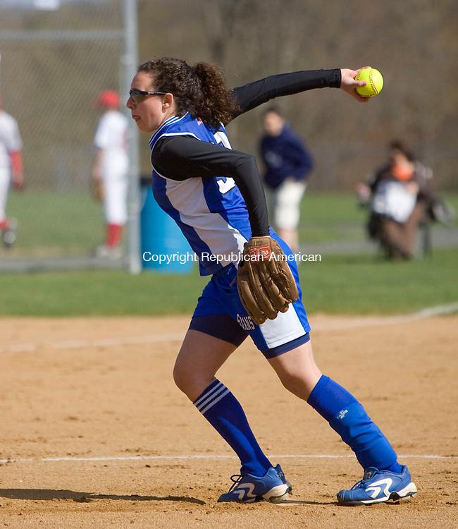 BURLINGTON, CT - 19 APRIL 2010 -041910JT01-<br /> Lewis Mills' pitcher Emily Bohmer during Monday's game against Wamogo at Mills.<br /> Josalee Thrift Republican-American