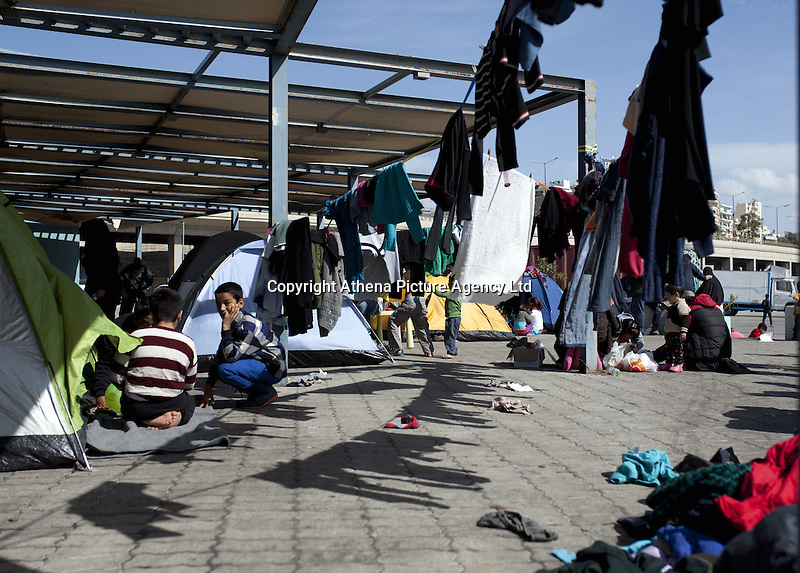 Pictured: Part of the camp at the port Monday 07 March 2016<br /> Re: Migrants have been gathering at the port of Piraeus, near Athens, Greece.