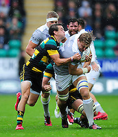 David Denton of Bath Rugby takes on the Northampton Saints defence. Aviva Premiership match, between Northampton Saints and Bath Rugby on September 3, 2016 at Franklin's Gardens in Northampton, England. Photo by: Patrick Khachfe / Onside Images