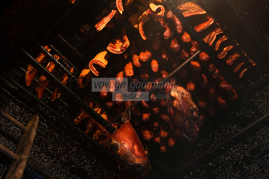 Europe/France/Rhône-Alpes/74/Haute-Savoie/Env de Manigod: Charcuterie de Montagne dans le fumoir de Régis Bozon charcutier [Non destiné à un usage publicitaire - Not intended for an advertising use]