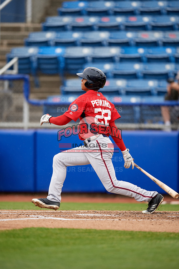 Potomac Nationals center fielder Blake Perkins (22) grounds out during the first game of a doubleheader against the Salem Red Sox on June 11, 2018 at Haley Toyota Field in Salem, Virginia.  Potomac defeated Salem 9-4.  (Mike Janes/Four Seam Images)