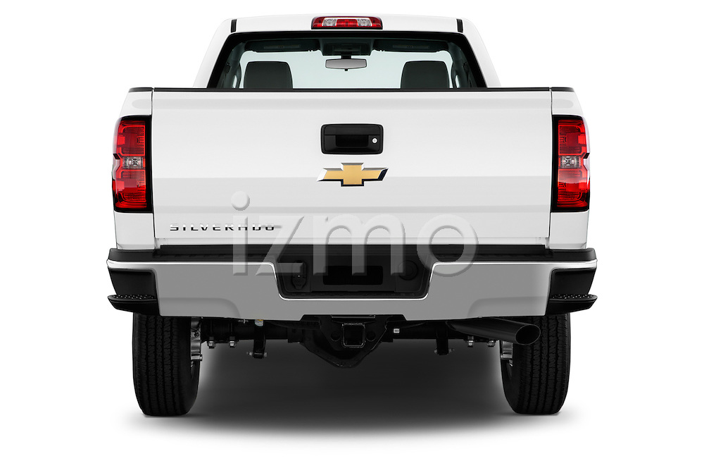 Straight rear view of a 2015 Chevrolet Silverado 2500 Hd Work Truck Regular Cab Lwb 2 Door Pickup 2WD Rear View  stock images