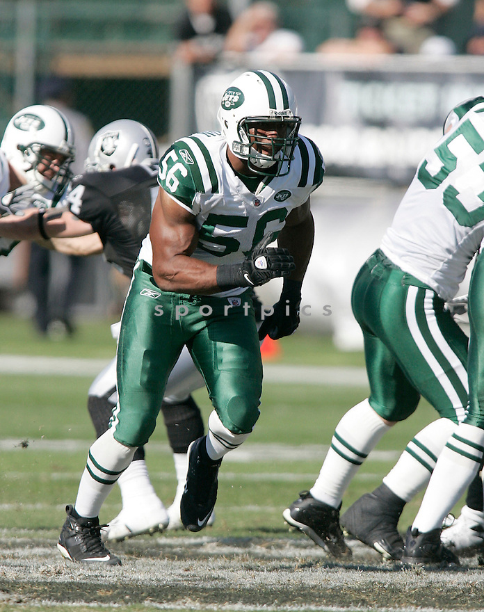 VERNON GHOLSTON, of the New York Jets, in action against the Oakland Raiders during the Jets game in Oakland. California on October 19, 2008. ..Raiders win 16-13