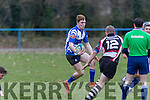 Dave Power, Tralee, tries to avoid the advancing No 12 Jack Quilter, Ballincollig during the game between the sides at O'Dowd Park, Tralee last Sunday afternoon.