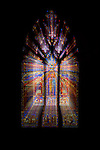 The Washington National Cathedral in Washington, DC boasts over 200 stained glass windows, many of which depict major events.  This image is a zoom burst of a stained glass window, made by zooming the zoom lens of the camera during a slow shutter speed exposure.