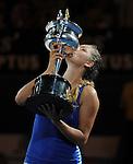 Victoria Azarenka wins the finals of the Australian Open in Melbourne Australia on January 27, 2012.