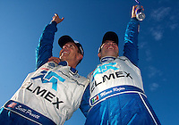 Scott Pruett and Memo Rojas celebrate after winning the 2011 Daytona Prototype championship at the Grand-Am Rolex Series race, Mid-Ohio Sports Car Course, Lexington, Ohio, September 2011.  (Photo by Brian Cleary/www.bcpix.com)