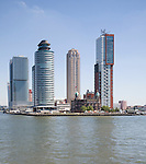 Historic Hotel New York building dwarfed by modern skyscrapers, Rotterdam, Netherlands