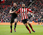 David McGoldrick of Sheffield Utd and Grant Hanley of Norwich Cityduring the Premier League match at Bramall Lane, Sheffield. Picture date: 7th March 2020. Picture credit should read: Simon Bellis/Sportimage