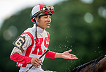 SARATOGA SPRINGS, NY- AUGUST 04: Jose Ortiz at Saratoga Racecourse on August 4, 2018 in Saratoga Springs, New York.(Photo by Alex Evers/Eclipse Sportswire)