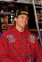 Oct. 11, 2009; Fontana, CA, USA; Moto X rider Brian Deegan in the NASCAR Sprint Cup Series garage prior to the Pepsi 500 at Auto Club Speedway. Mandatory Credit: Mark J. Rebilas-