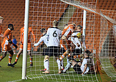 04/12/2018 FA Youth Cup 3rd Round Blackpool v Derby County<br /> <br /> Owen Watkinson bundles the ball over the line for Blackpool's consolation goal