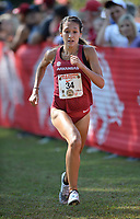NWA Democrat-Gazette/ANDY SHUPE<br /> Arkansas' Taylor Werner comes in to the finish line Saturday, Oct. 5, 2019, to win the collegiate women's race during the Chile Pepper Cross Country Festival at Agri Park in Fayetteville. Visit nwadg.com/photos to see more photographs from the races.