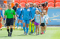 Houston, TX - Saturday May 13, Sky Blue FC defender Christie Pearce (3) and the rest of the Sky Blue starting players enter the field during a regular season National Women's Soccer League (NWSL) match between the Houston Dash and Sky Blue FC at BBVA Compass Stadium. Sky Blue won the game 3-1.