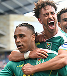 Samuel Cox (right) of Guyana hugs Neil Danns (16) of Guyana after Danns scored early in the second half during their Gold Cup match on June 26, 2019 at Children's Mercy Park in Kansas City, KS.<br /> Tim VIZER/AFP