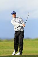 Scott Gibson (SCO) on the 12th tee during Round 3 of The Irish Amateur Open Championship in The Royal Dublin Golf Club on Saturday 10th May 2014.<br /> Picture:  Thos Caffrey / www.golffile.ie