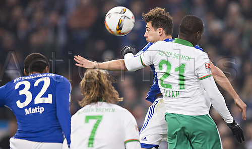 24.01.2016. Gelsenkirchen, Germany. German Bundesliga soccer match between FC Schalke 04 and Werder Bremen in the Veltins Arena. Anthony Ujah (Werder)