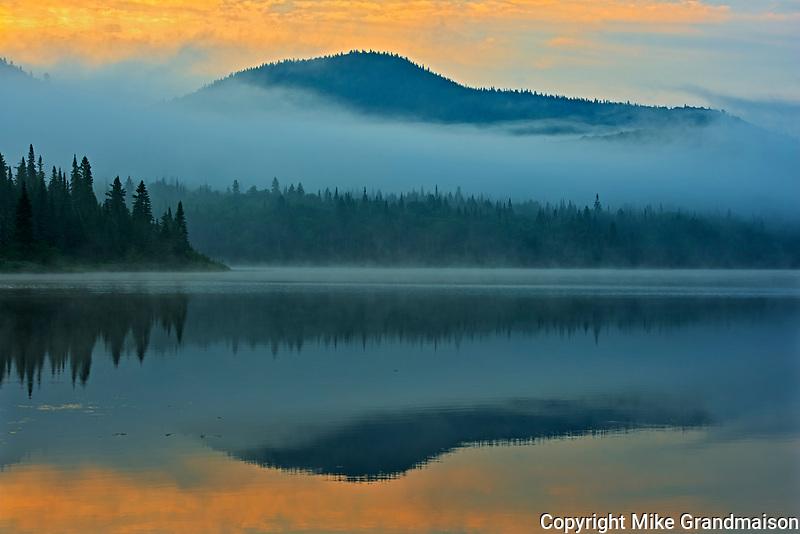 Fog at sunrise on Lac-Lajoie. This is a provincial parc, not a true federal park.<br />Parc national du Mont-Tremblant<br />Quebec<br />Canada