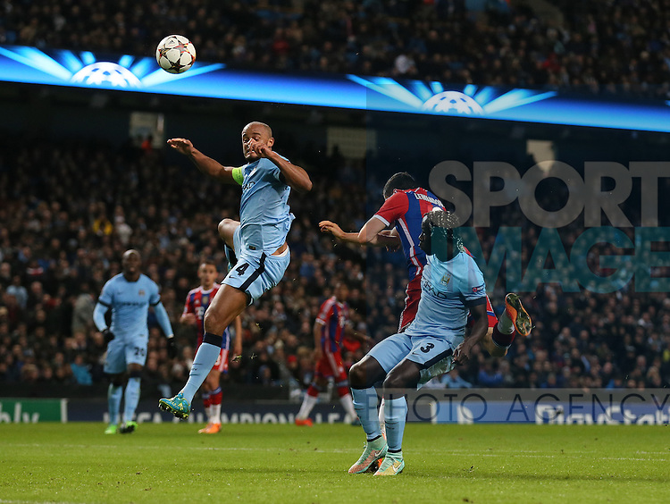 Robert Lewandowski of Bayern Munich scores the second goal before half time - UEFA Champions League group E - Manchester City vs Bayern Munich - Etihad Stadium - Manchester - England - 25rd November 2014  - Picture Simon Bellis/Sportimage