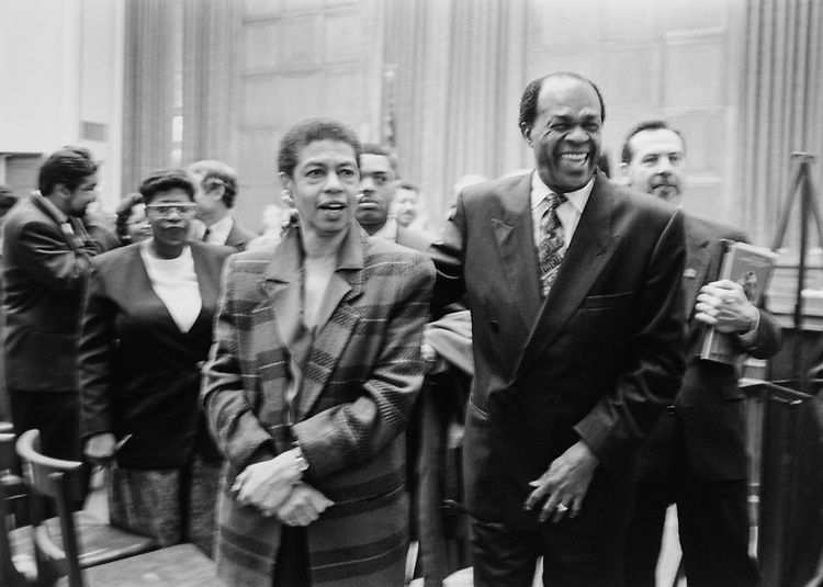 Rep. Eleanor Holmes Norton, D-D.C., with Mayor Marion Barry, D-D.C., on Capitol Hill in February 1995. (Photo by Laura Patterson/CQ Roll Call via Getty Images)