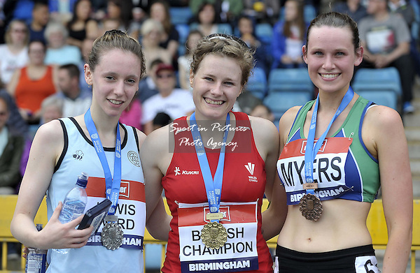 (l to r) Sophie Lewis Ward (2nd, Cambridge Harriers), Bethan Davies (1st, Cardiff) and Nataie Myers (5th, Sheffield)  (Womens 5,000m walk). British Athletics Championships. Alexander Stadium. Birmingham. UK. 26/06/2016. ~ MANDATORY CREDIT Garry Bowden/SIPPA - NO UNAUTHORISED USE - +447837 394578