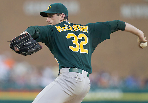 July 20, 2011:  Oakland Athletics starting pitcher Brandon McCarthy (#32) delivers pitch during MLB game action between the Oakland Athletics and the Detroit Tigers at Comerica Park in Detroit, Michigan.  The Athletics defeated the Tigers 7-5.