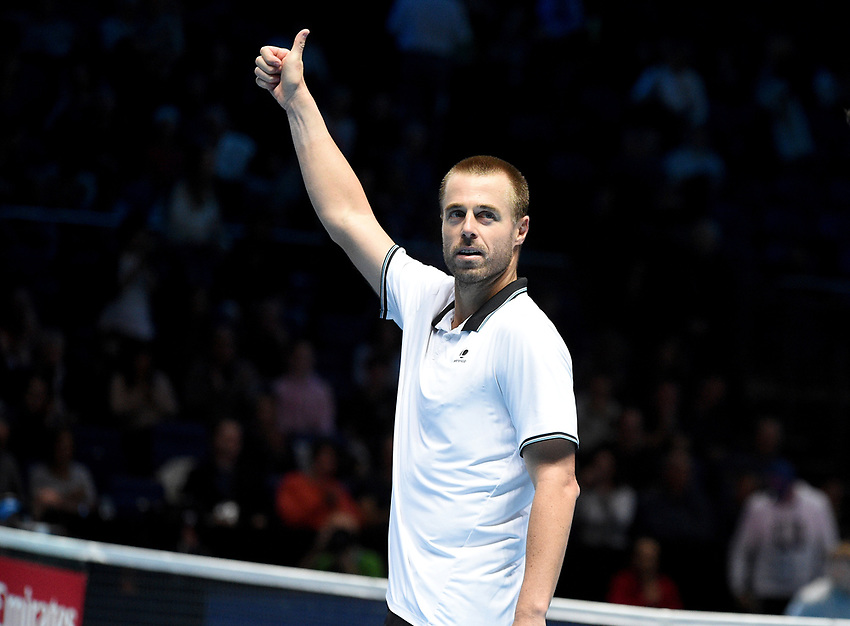 Oliver Marach celebrate's winning against Pierre-Hugues Herbert and Nicolas Mahut<br /> <br /> Photographer Hannah Fountain/CameraSport<br /> <br /> International Tennis - Nitto ATP World Tour Finals Day 2 - O2 Arena - London - Monday 12th November 2018<br /> <br /> World Copyright © 2018 CameraSport. All rights reserved. 43 Linden Ave. Countesthorpe. Leicester. England. LE8 5PG - Tel: +44 (0) 116 277 4147 - admin@camerasport.com - www.camerasport.com