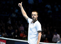 Oliver Marach celebrate's winning against Pierre-Hugues Herbert and Nicolas Mahut<br /> <br /> Photographer Hannah Fountain/CameraSport<br /> <br /> International Tennis - Nitto ATP World Tour Finals Day 2 - O2 Arena - London - Monday 12th November 2018<br /> <br /> World Copyright &copy; 2018 CameraSport. All rights reserved. 43 Linden Ave. Countesthorpe. Leicester. England. LE8 5PG - Tel: +44 (0) 116 277 4147 - admin@camerasport.com - www.camerasport.com