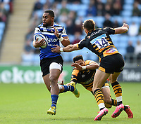 Joe Cokanasiga of Bath Rugby takes on the Wasps defence. Heineken Champions Cup match, between Wasps and Bath Rugby on October 20, 2018 at the Ricoh Arena in Coventry, England. Photo by: Patrick Khachfe / Onside Images