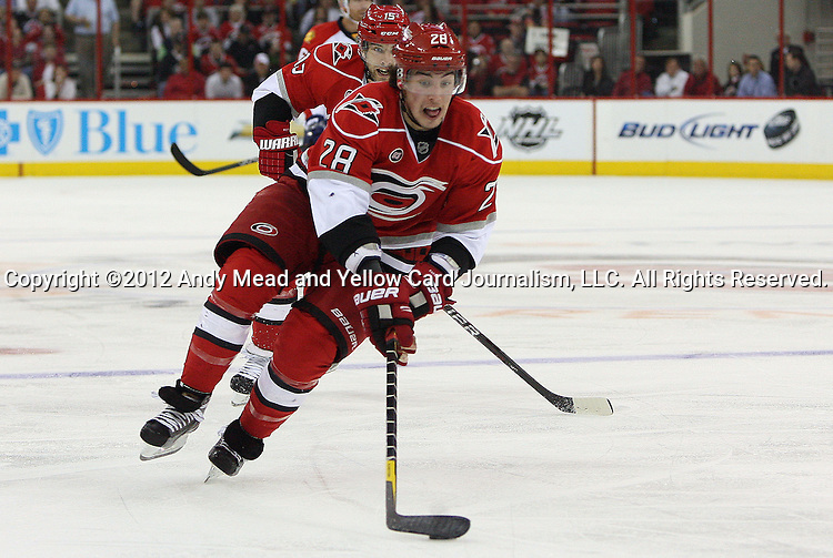 21 March 2012: Carolina's Justin Faulk. The Carolina Hurricanes played the Florida Panthers at the PNC Arena in Raleigh, North Carolina in a 2011-2012 National Hockey League regular season opening game.