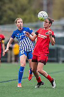 Allston, MA - Sunday, May 1, 2016:  Boston Breakers midfielder Louise Schillgard (10) and Portland Thorns FC defender Emily Menges (4) in a match at Jordan Field, Harvard University.