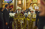 Coptic Orthodox Christians attend the Christmas Eve mass at the Nativity of Christ Cathedral in Cairo on January 6, 2018. Coptic Orthodox Christians packed the newly built Nativity of Christ Cathedral for a Christmas Eve mass after a bloody year for the minority singled out by jihadists for attacks. Photo by Amr Sayed