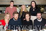 Front l-r Denise Long, Blaine Long, Sarah Fenton, Jonathan Kelly, Back l-r Brendan O'Sullivan, Leah Long, Yvonne Long enjoying the New year at No.4 the Square