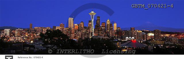 Tom Mackie, LANDSCAPES, panoramic, photos, Seattle Skyline at Night, Washington, USA, GBTM070421-4,#L#