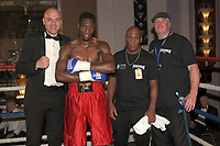 Joshua Ejakpovi (red shorts) defeats Arvidas Trizno during a Boxing Show at the Sheraton Grand Hotel on 10th May 2018