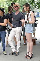 """July 09, 2012 Director John Carney with Hailee Steinfeld shooting on location for the new VH-1 film, """"Can a Song Save Your Life ?"""" in New York City. © RW/MediaPunch Inc."""