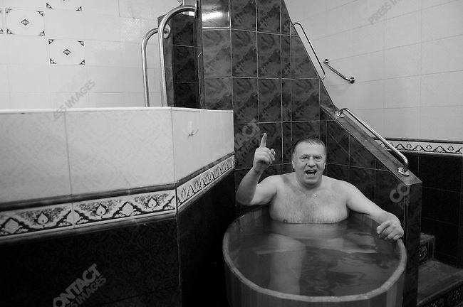 Vladimir Zhirinovsky, the leader the LDPR and a candidate in this week's Russian presidential elections, arrived at the Sandunovsky Baths in Moscow where he came for a Russian banya with colleagues and friends, and held an impromptu press conference. Moscow, Russia, February 25, 2008.