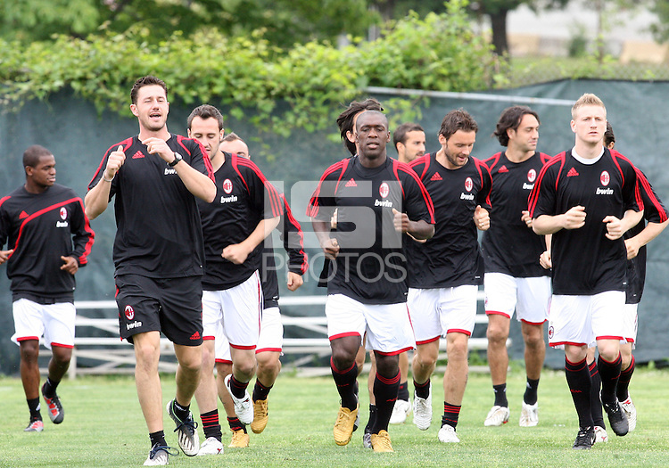 Clarence Seedorf of A.C.Milan in the center during a practice session at RFK training facility in Washington D.C. on May 24, 2010.