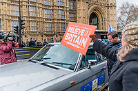 LONDON, ENGLAND - JANUARY 15: A Pro Brexit show his placard  outside the House of Commons  on January 15, 2019 in London, England. Theresa May's Brexit deal finally reaches the House of Commons this evening and MPs will begin voting on it at 7pm. The Prime Minister has consistently said her's is the only deal that Brussels will entertain and urged support from Parliament to avoid the UK crashing out of the European Union with no deal. Photo Adamo Di Loreto