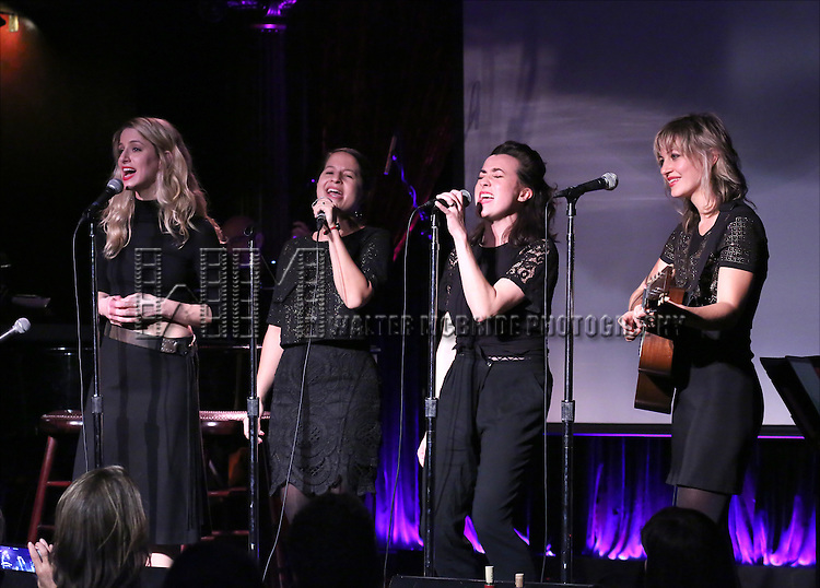 Erica Sweany, Jessie Shelton, Shaina Taub and Anais Mitchell performing at The Lilly Awards Broadway Cabaret at the Cutting Room on October 17, 2016 in New York City.