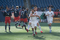 FOXBOROUGH, MA - MARCH 7: Jonathan Bornstein #3 of Chicago Fire, Robert Beric #27 of Chicago Fire and Przemyslaw Frankowski #11 of Chicago Fire celebrate the Chicago Fire goal during a game between Chicago Fire and New England Revolution at Gillette Stadium on March 7, 2020 in Foxborough, Massachusetts.