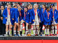 CARSON, CA - FEBRUARY 9: Lindsey Horan #9 and Rose Lavelle #16 of the United States look at the stage during a game between Canada and USWNT at Dignity Health Sports Park on February 9, 2020 in Carson, California.