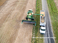 63801-08718 Soybean Harvest, unloading soybeans into semi-truck John Deere combine- aerial - Marion Co. IL