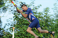 FIERLJEPPEN: GRIJPSKERK: 17-07-2013, Winnende sprong Bart Helmholt 21,00m, 1e Klas wedstrijd, Senioren Topklasse, ©foto Martin de Jong