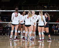 STANFORD, CA - December 1, 2018: Tami Alade, Kathryn Plummer, Morgan Hentz, Audriana Fitzmorris, Meghan McClure, Jenna Gray at Maples Pavilion. The Stanford Cardinal defeated Loyola Marymount 25-20, 25-15, 25-17 in the second round of the NCAA tournament.