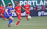 Portland, OR - Saturday July 30, 2016: Kendall Fletcher, Nadia Nadim during a regular season National Women's Soccer League (NWSL) match between the Portland Thorns FC and Seattle Reign FC at Providence Park.