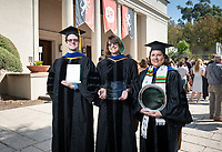 From left: Gerald Daigle, recipient of The Linda and Tod White Teaching Prize; Amy Lyford, recipient of The Janosik-Sterling Award for Service; Dolores Trevizo, recipient of The Graham L. Sterling Memorial Award. Not pictured - The Linda and Tod White Teaching Prize recipient Keith Naylor.<br /> The class of 2023 are welcomed to Occidental College by trustees, faculty and staff in Thorne Hall on Aug. 27, 2019 during Oxy's 132th Convocation ceremony, a tradition that formally marks the start of the academic year and welcomes the new class.<br /> (Photo by Marc Campos, Occidental College Photographer)